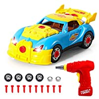 SGILE Construction Toys - 31 Pieces Take Apart Toy Racing Car With Realistic Sounds & Lights - Build Your Own Car Kit With Electric Drill Tool,Gift for 3 Years Old Kids