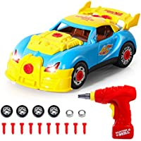 SGILE Take Apart Toy Racing Car - 30 Pieces Build Your Own Car, Educational Construction Toys Kit with Tools Drill Real Lights and Sounds, Best Gift for Kids 3 Years and Up