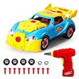 SGILE Take Apart Toy Racing Car, 30 Pieces Build Your Own Car, Educational Construction Toys Kit with Tools Drill Real Lights and Sounds, Best Gift for Kids 3 Years and Up