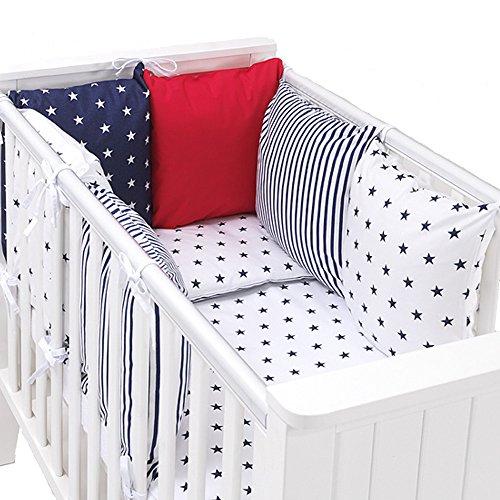 tour-de-lit-coussins-modulable-avec-parures-design-reversible-stars-marin-rouge-14-pieces-coton-bio