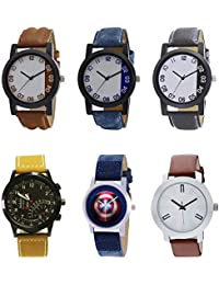 NEUTRON Modern 3D Design Captain America Black Blue And Brown Color 6 Watch Combo (B39-B40-B41-B42-B43-B44) For...