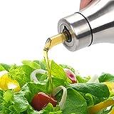 Dispenser per bottiglie di olio e aceto - Bottiglia di olio di oliva in acciaio inossidabile, boccola di non versamento a goccia, bottiglia di olio impermeabile (750ML)
