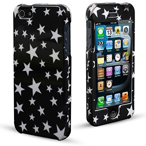 MadCase Cute Design Series Coque ultra mince pour Apple iPhone 5 et 5S  - Purple Flowers White Stars