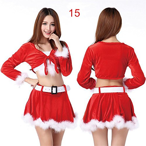 20 Models M?nner & Frauen Fr?ulein Sexy Santa Damen Weihnachtsweihnachtsabendkleid-W?sche-Kostüm (Claus Kostüm Miss)