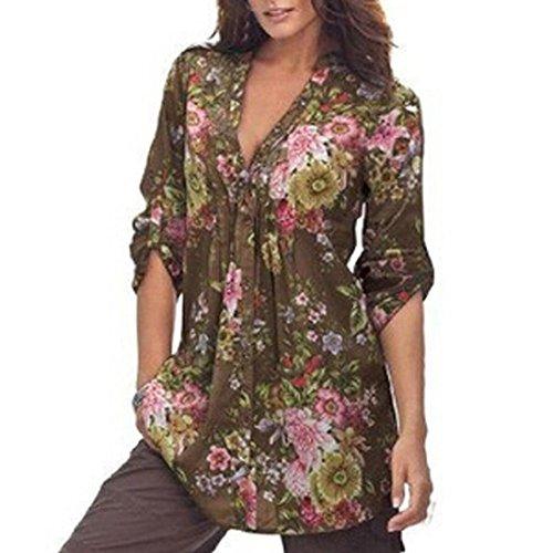 Preisvergleich Produktbild Sannysis Damen Bluse T-Shirt Hemd Oberteile Casual Blumenmuster V-Ausschnitt Langarm Shirt Tops (XL, Kaffee)