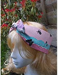 50s Pink Lace Skull, Butterfly And Cherry Head Scarf With Wire or Not