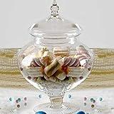 Ampolla alzatina per confettata porta confetti in vetro trasparente e coperchio in vetro misura piccola Altezza 28cm diametro 20cm