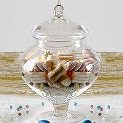 Idea Regalo - Ampolla alzatina per confettata porta confetti in vetro trasparente e coperchio in vetro misura piccola Altezza 28cm diametro 20cm