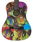 Teenage Ninja Mutant Turtles TMG34 - Set de guitarra acústica 3/4 (diseño de las Tortugas Ninja, púa, funda, diapasón cilíndrico, cuerdas y correa)