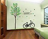 ufengke® Xlarge Freizeit-Leben-Reihe Riesiger Baum Fliegenden Vögel und Fahrrad Wandsticker mit Zitaten,Wohnzimmer Schlafzimmer Entfernbare Wandtattoos Wandbilder, Set von 2 Blatt