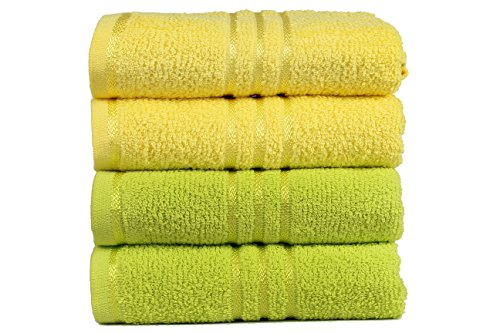 trident-everyday-400-g-m-algodon-4-piezas-combo-toallas-de-mano-amarillo-y-verde