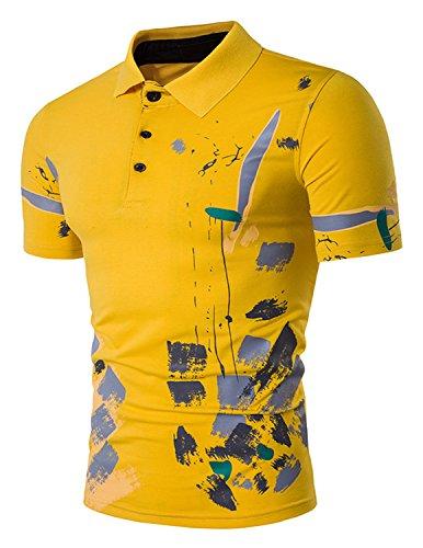 YCHENG Poloshirt Herren Stylisches Casual Kurzarm Polo Shirt für Freizeit Sport T-Shirt Gelb
