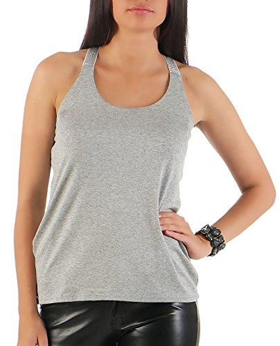 malito Top in Diversi Colori di Base T-Shirt 1330 Donna Taglia Unica Grigio chiaro