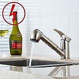 Gimili Küchenarmatur Niederdruck mit Brause Wasserhahn Küche für Armatur Küche Gebürstetes Nickel