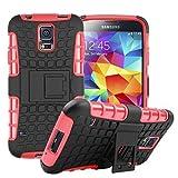 Wigento Hybrid Schutzhülle Outdoor 2 teilig aufstellbar Schwarz/Rot für Samsung Galaxy S5 Neo SM G903F Tasche