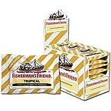 Fisherman's Friend Tropical | Karton mit 24 Beuteln | Ananas Melone und Guave Geschmack | Zuckerfrei für frischen Atem