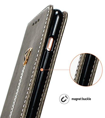 Apple Iphone 6S Plus hülle, Handyhülle Apple Iphone 6S Plus Silikon Case, Nnopbeclik® PU Leder 3D Peace Dove Design Cover Hochwertige Qualität Tasche Und weich Schwarz TPU Stoßkasten Anti-Scratch Inne Gray