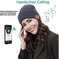 E-More Bluetooth Beanie, Wireless Bluetooth Hat Cap Women Men Winter Warm Hats with Headphone Headset Mic Speaker for Running, Skiing, Skating, Hiking