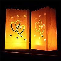 VANKER 10pcs resistente al fuego vela velas té luz bolsas para fiestas boda Event Decor–doble corazón