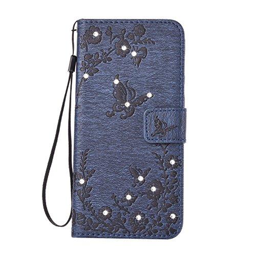 Hülle für Samsung Galaxy S7 Edge Schmetterling,TOCASO Glitter Strass Bling Ledertasche Muster Weich PU Schutzhülle für Samsung Galaxy S7 Edge Flip Cover Wallet Case Tasche Handyhülle mit Lanyard Strap Diamant-Schmetterling, 4