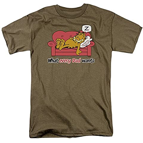 Garfield - What Every Dad Wants - Adult Safari Green S/S T-Shirt For Men, XX-Large, Safari Green