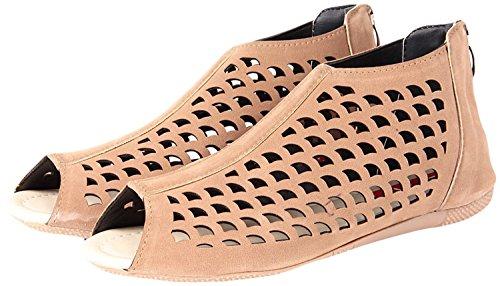 Zaiva Woman Flat Fashion Shoe (36, Beige)