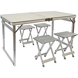 AMANKA Tavolino da pic-nic incl 4 Sgabelli exta stabile Tavolo da campeggio 120x70x70cm altezza regolabile pieghevole formato valigia Alluminio