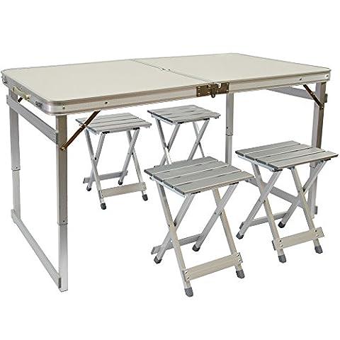 Table de Camping Portable   Table + 4 Tabourets   Pliante en Mallette   Table de pique-nique   Réglable en Hauteur   Aluminium   env 120x70cm
