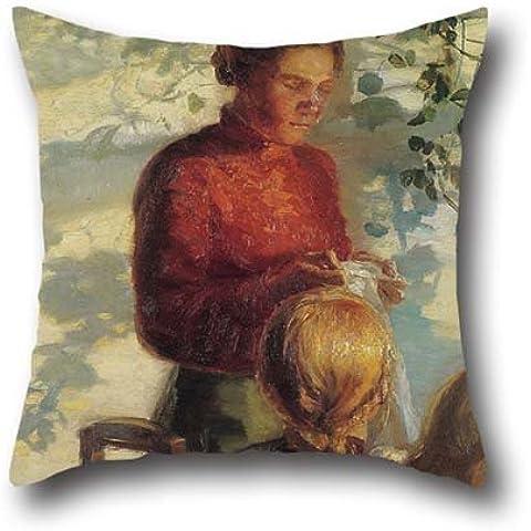 50,8x 50,8cm/da 50x 50cm pittura a olio Anna Ancher–Due bambine di imparare come a cucire cuscino copre, doppio lati è perfetto per matrimoni, ragazza, Sala da pranzo, ragazzi, bambini, divano