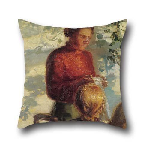 50,8x 50,8cm/da 50x 50cm pittura a olio Anna Ancher-Due bambine di imparare come a cucire cuscino copre, doppio lati è perfetto per matrimoni, ragazza, Sala da pranzo, ragazzi, bambini, divano