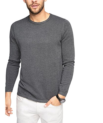 Esprit Mit Muster-Regular Fit, Pull Homme Gris (GREY 030)