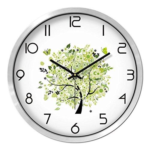 Horloges Balayage Secondes Mute pour la Chambre Murale Ronde Metallic et Montres Quartz Silencieux Adapté & Salon Taille 30.5cm (12inch) (Color : Green-B)