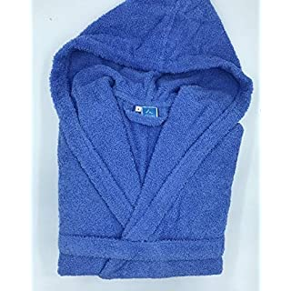 Alpes Blanc Hooded Dressing Gown Dark Blue - 100% Cotton - 500g/m2