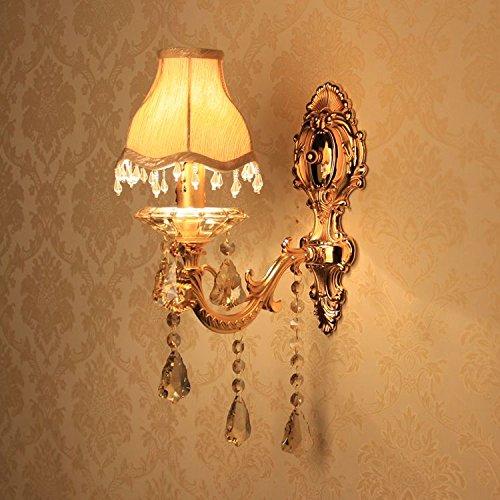 Europäischen Gold Geschnitzt Legierung Stoff Lampenschirm Kristall Korridor Wandleuchte Schlafzimmer Nachttische Wandleuchter Kerze Stil Wohnzimmer Wand Leuchten Antik A-One Head
