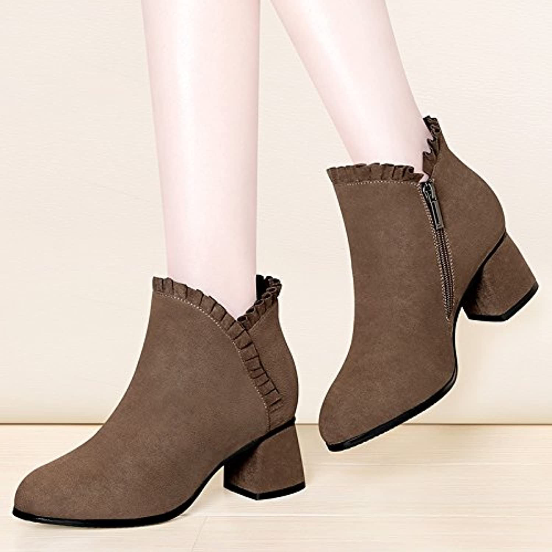 GTVERNH-Korean invierno botas de moda hembra ronda duro con botas chelsea boots shoes el botín otoñoTreinta y...