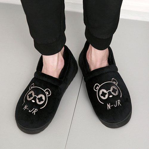 DogHaccd pantofole,Pantofole di cotone femmina maschio coppie cadono spesso soggiorno invernale home in inverno con pantofole di peluche carino Nero1