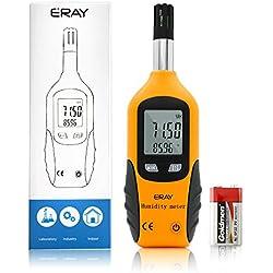 Eray Higrómetro Termómetro Digital, Medidor de Humedad (0% ~ 100% RH) y Temperatura (-20℃~80℃), LCD Pantalla Retroiluminada, Medidor de Punto de Rocío, Bulbo Húmedo, Baterías Incluidas (Amarillo)