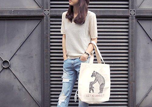 Womens Tela Tote Bag Naturale La Stampa Di Grande Capacità Borsa Della Spesa B