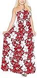 LA LEELA Allover Hibiskus Blume Print rückenfreie Smok Lange Tube-Kleid Rot