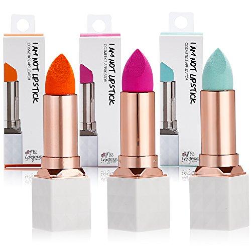 Miss Gorgeous 3pcs éponge de maquillage en polyuréthane hydrophile blender avec motif Rouge à lèvres pour fond de teint Mélange éponge-sans Miroir