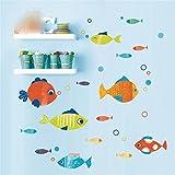 Wandtattoos Wandbilder Cartoon Schlafzimmer Kinder Zimmer Fisch Wandaufkleber Papier niedlichen Badezimmer Badezimmer Glaspaste Ideen Küche Kühlschrank Aufkleber