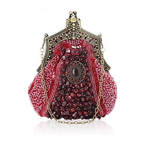 Wuxingqing Damen Clutches Arbeiten Sie Retro- große Kapazitäts-Perlen-Partei-Handtaschen-Abend-Handtasche für Frauen um für Frauen Hochzeit Date Party (Color : Claret) -