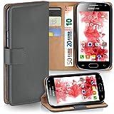 moex Samsung Galaxy Ace 2   Hülle Dunkel-Grau mit Karten-Fach 360° Book Klapp-Hülle Handytasche Kunst-Leder Handyhülle für Samsung Galaxy Ace 2 Case Flip Cover Schutzhülle Tasche
