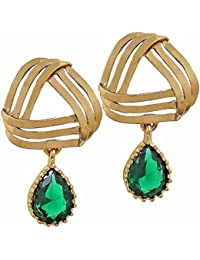 The Jewelbox Filigree Flower Gold Plated Emerald Green Dangling Earring For Women