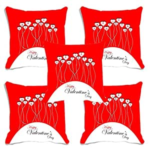 meSleep Red Happy Valentine's day Digital Printed Cushion (With Filler) - Set of 5
