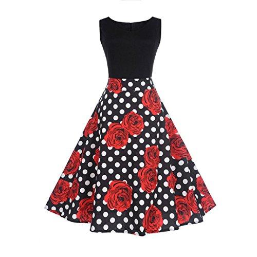 Homebaby® Rosa Floreale Estivi Vestiti Casual Donna - Vintage Mini Abito  Senza Maniche Senza Spalline
