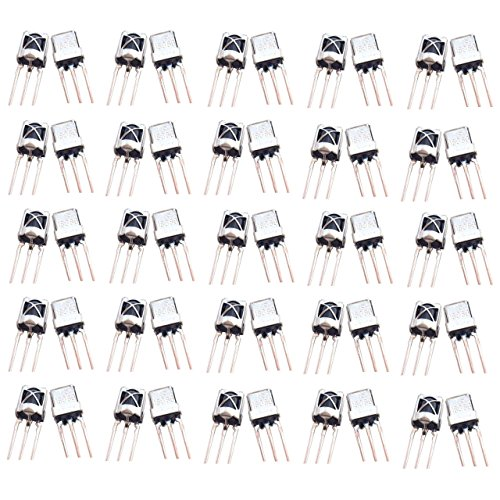 Optimus Electric 100pcs Universal Infrared IR Receiver TL1838 with 15m Sensing Distance and Steel Head Case for Remote Control Systems Devices from -