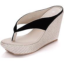 Donalworld Femmes Summer Beach Chaussures T Strap épais Sole Sandals Flip  Flops Sandales Compensées 9af6a7edf7c3
