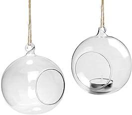 Youseexmas Teelichthalter Zum Aufhängen Kerzenhalter Glaskugel Durchmesser 10 cm, 4 Stk