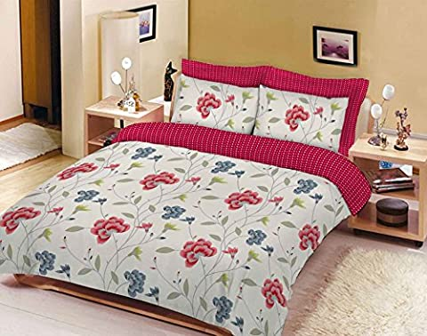 Duvet Cover Set Single Bed With Pillowcase Quilt Bedding Set Reversible Poly Cotton , Rose Flower